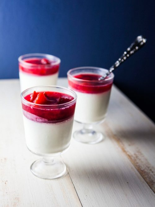 Buttermilk Panna Cotta With Plum And Rose Water Compote Hummingbird High