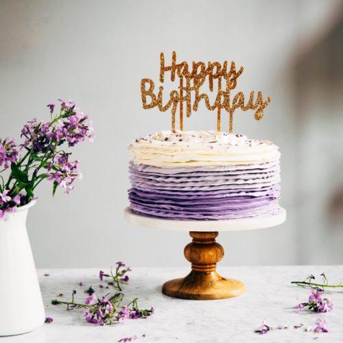 Marvelous 30Th Birthday Chocolate Cake With Lavender Ruffle Frosting Personalised Birthday Cards Veneteletsinfo