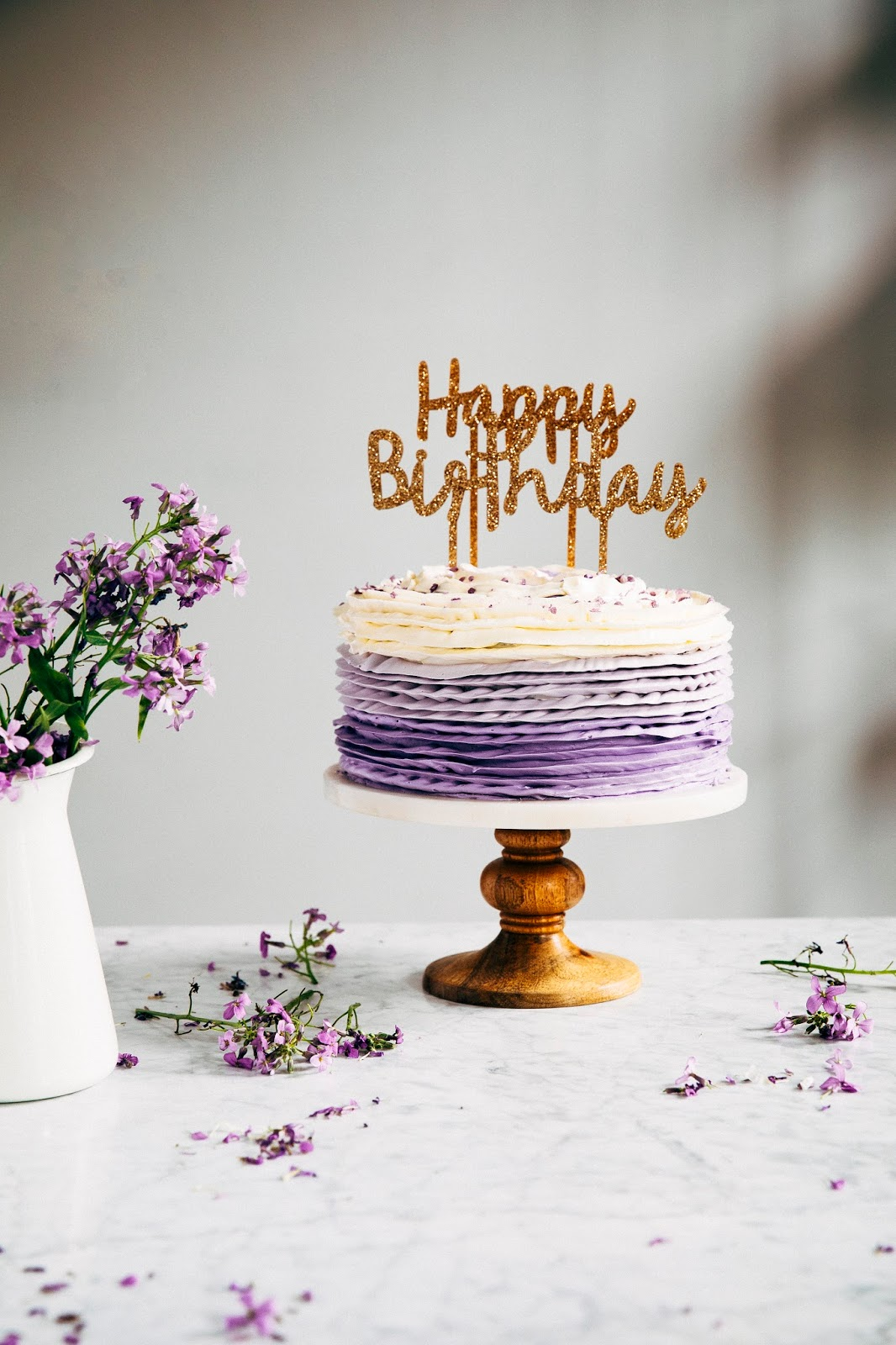 Tremendous 30Th Birthday Chocolate Cake With Lavender Ruffle Frosting Personalised Birthday Cards Veneteletsinfo