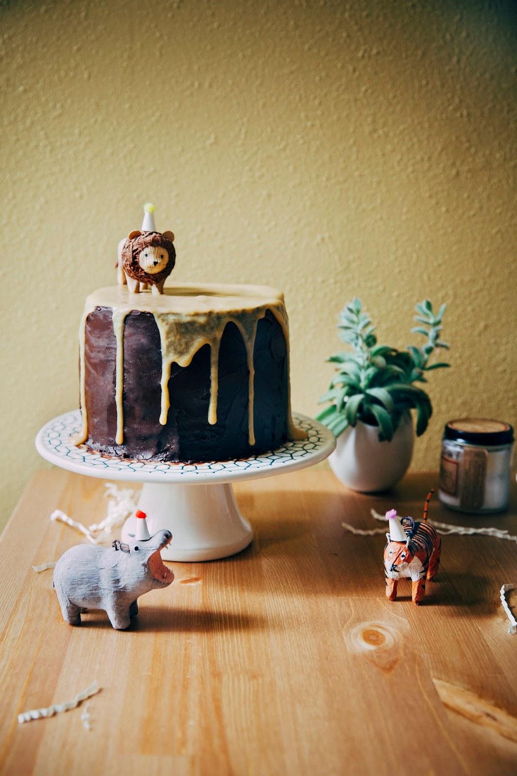 Phenomenal Boozy Yellow Birthday Cake With Chocolate Frosting And Caramelized Personalised Birthday Cards Vishlily Jamesorg