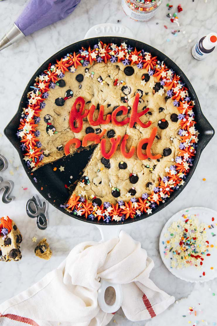 covid chocolate chip cookie cake