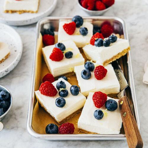 small batch no bake cheesecake bars