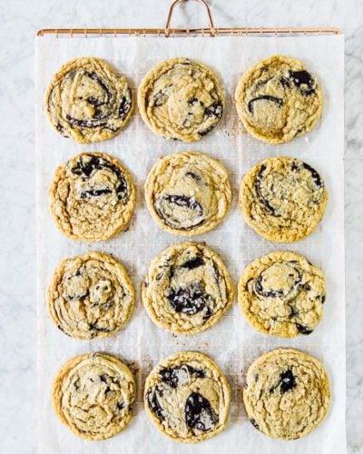 vegan tahini chocolate chip cookies