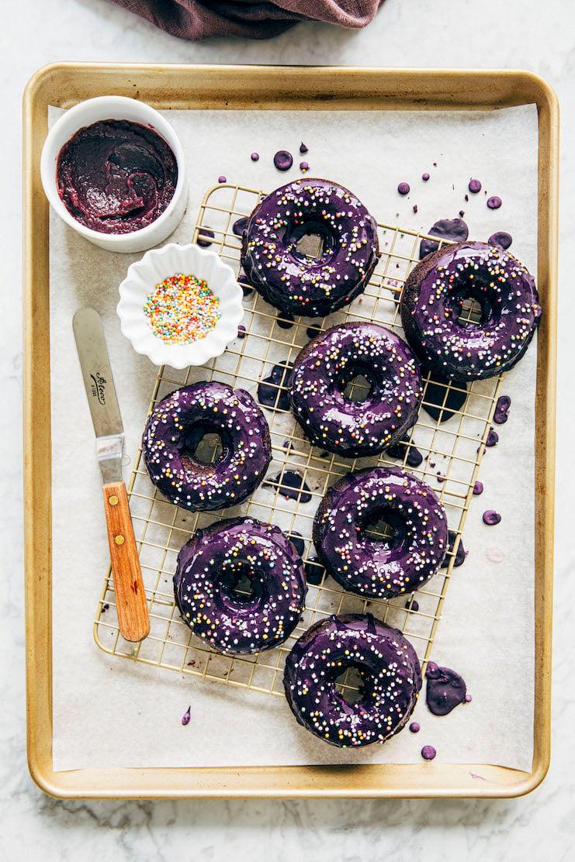 tray of baked ube mochi donuts