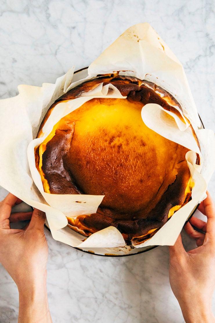 burnt basque cheesecake in pan