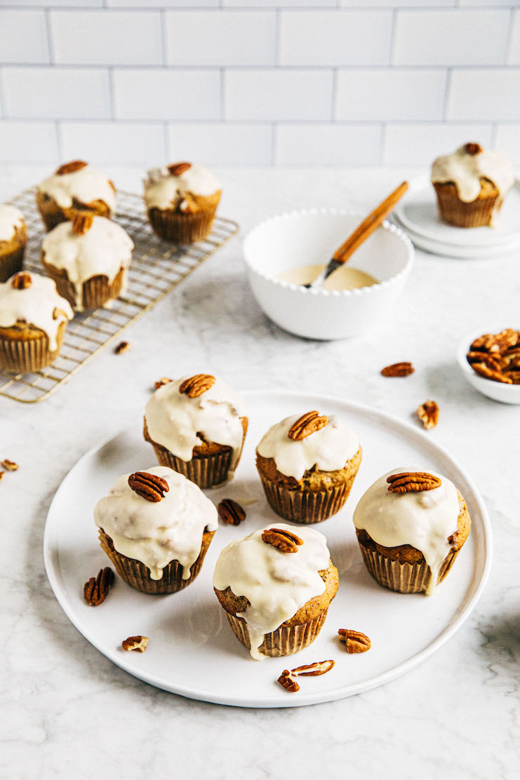 maple pecan muffins on plate