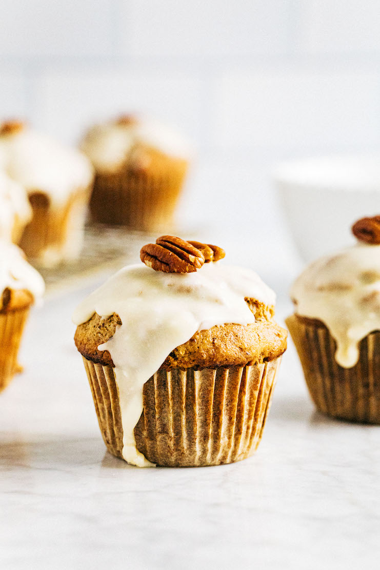close up of maple pecan muffins