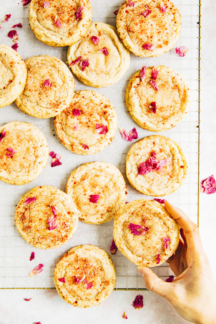 hand reaching for strawberry rose snickerdoodles