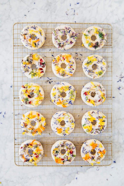 spring flower sugar cookies on wire rack