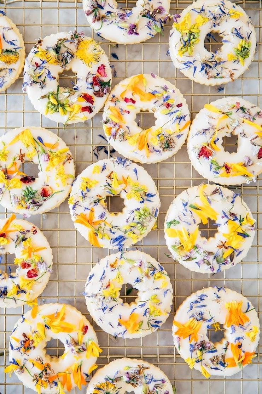 close up of spring flower sugar cookies