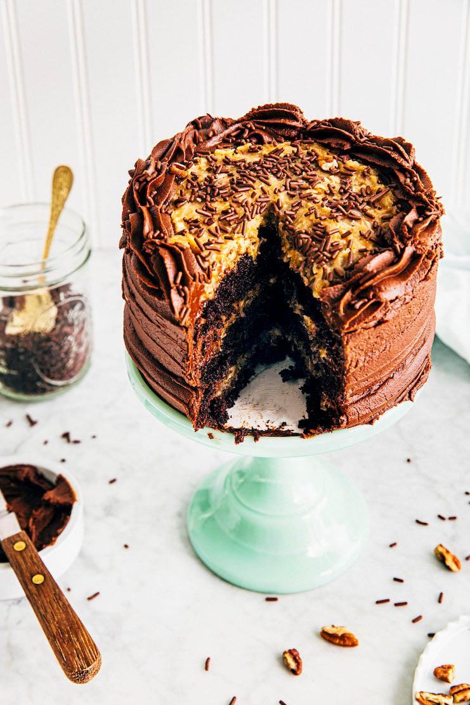 sliced 6 inch german chocolate cake