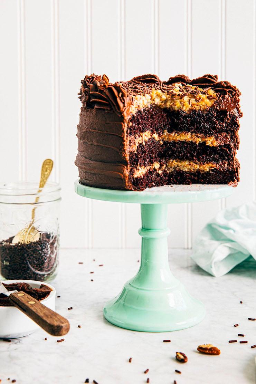 close up of sliced 6 inch german chocolate cake recipe