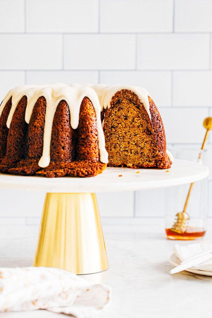 close up of sliced banana bundt cake