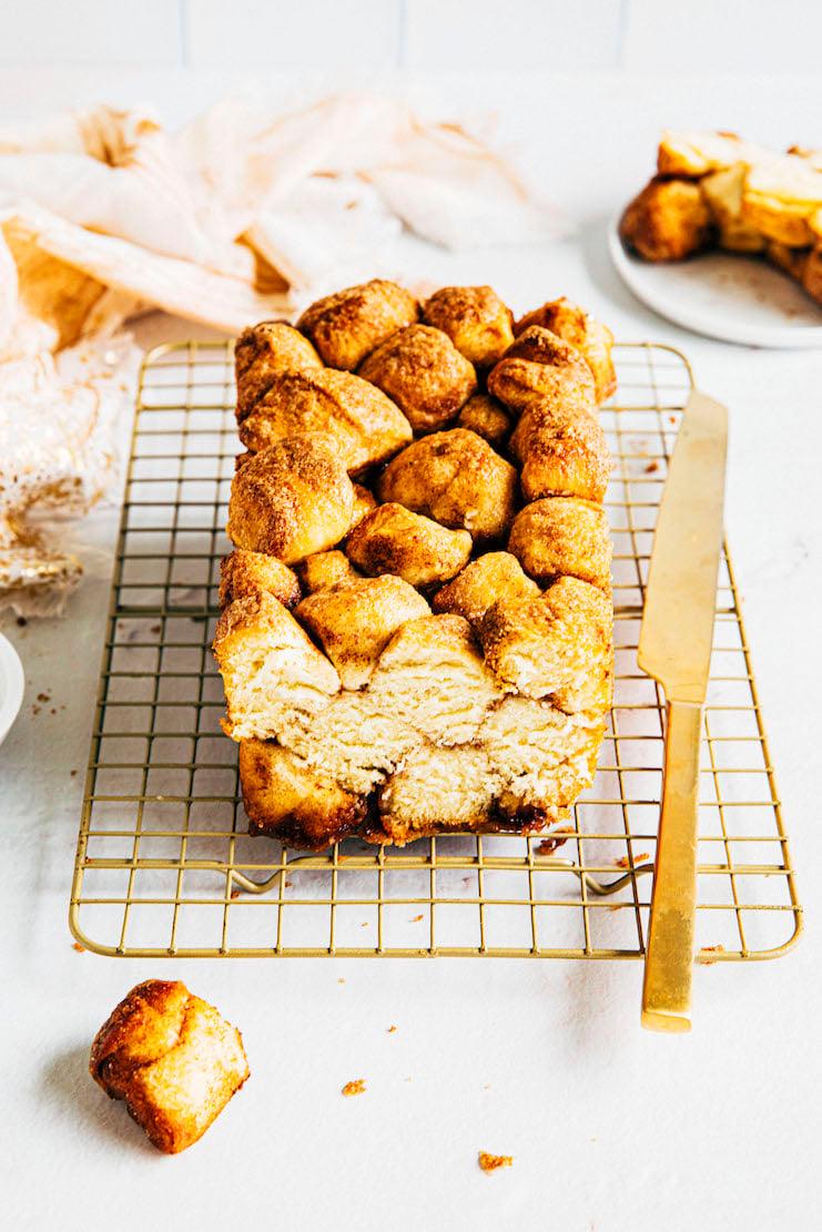 sliced monkey bread recipe in a loaf pan
