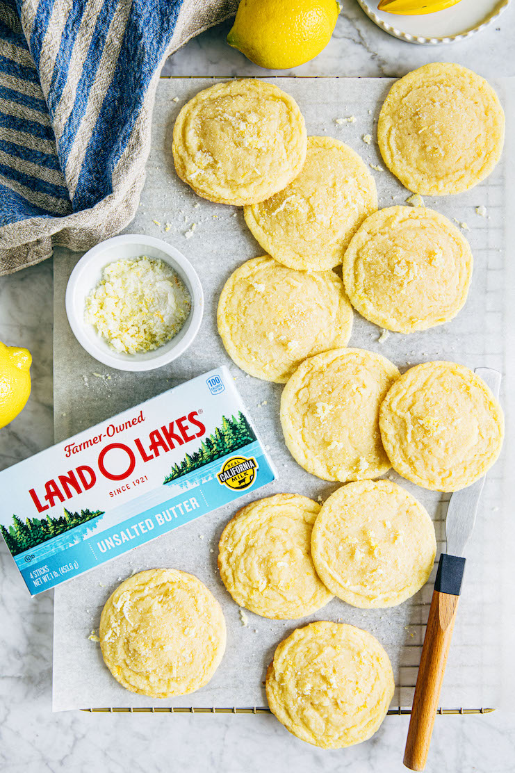 chewy lemon sugar cookies with land o lakes butter
