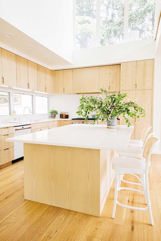 kitchen island with sky light