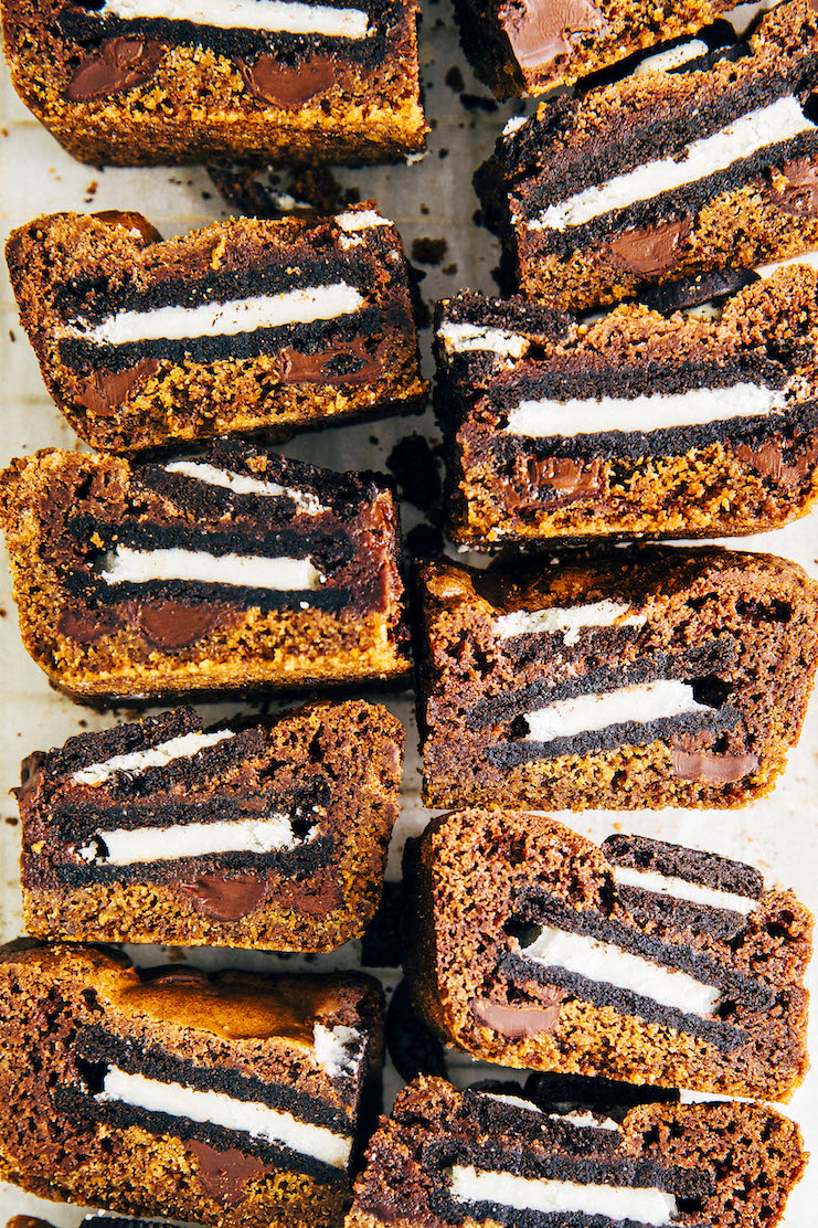 close up of small batch slutty brownies