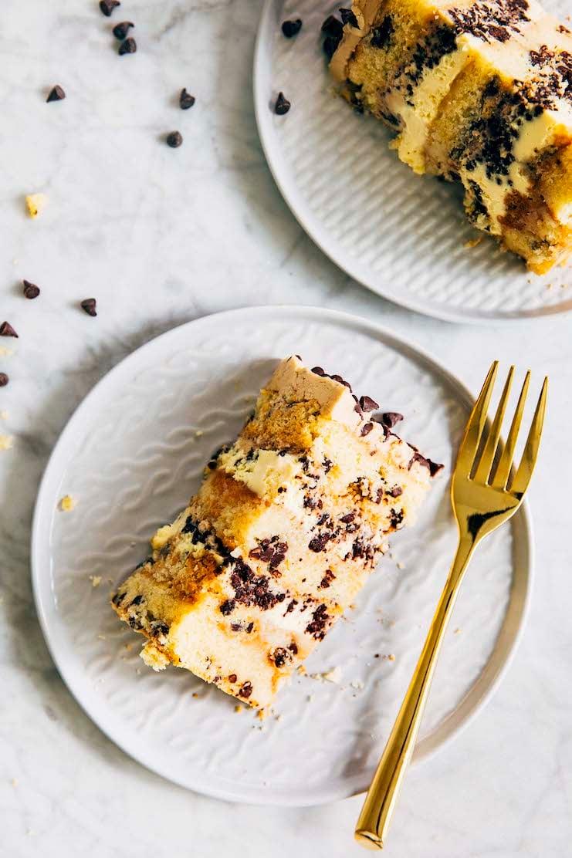 close up of milk bar chocolate chip cake slices