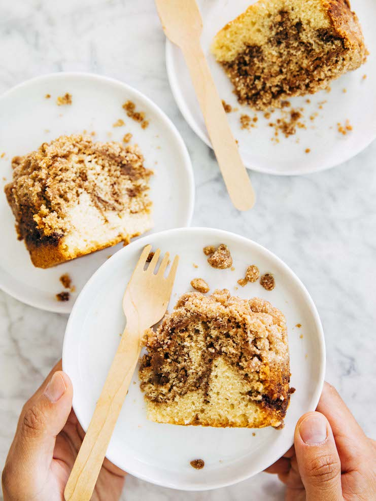 slices of small batch streusel coffee cake