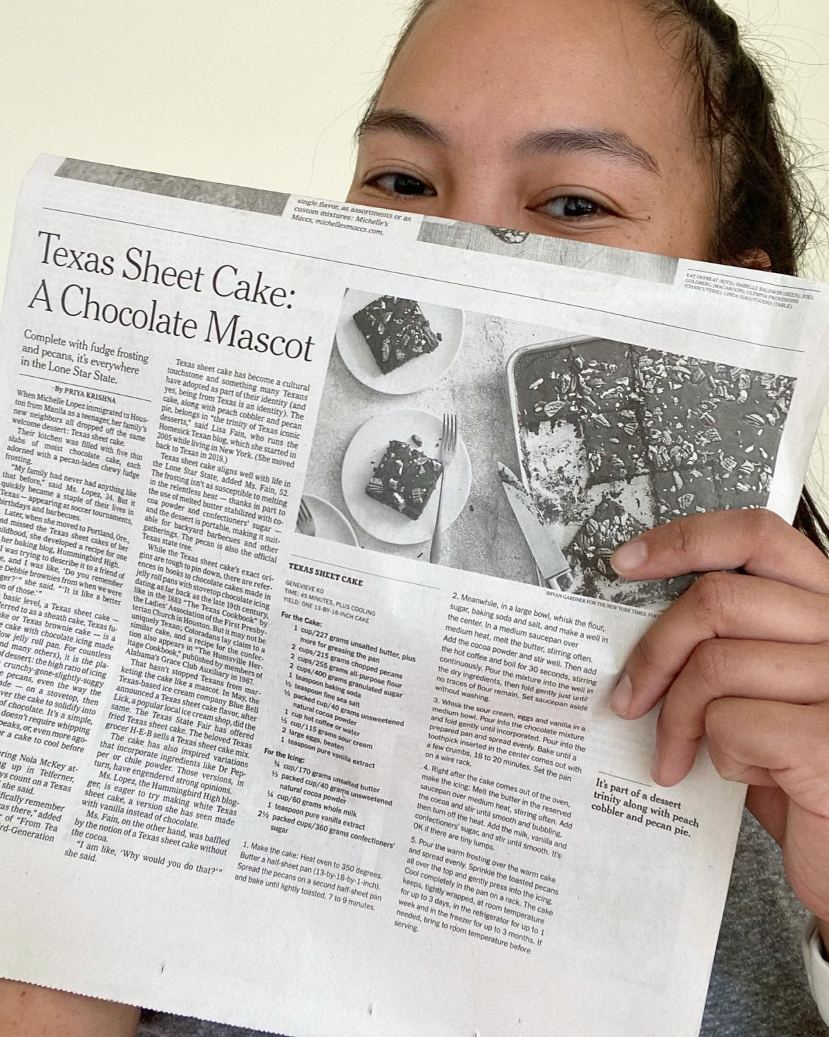 me with a copy of the texas sheet cake story in the new york times