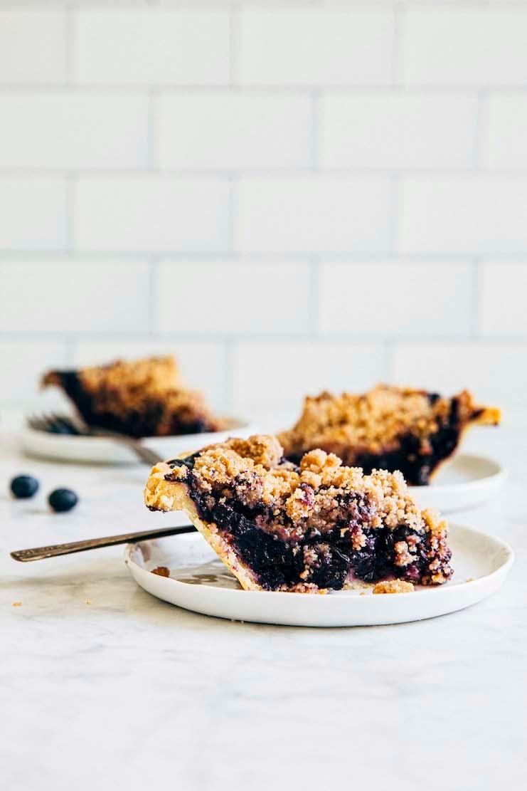 close up of blueberry crumble pie recipe slice