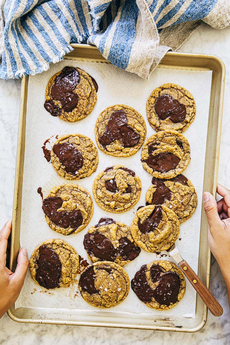 tray of pumpkin chocolate chip cookies